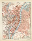 Lyon historischer Stadtplan Karte Lithographie ca. 1908