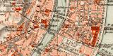 Lyon historischer Stadtplan Karte Lithographie ca. 1914
