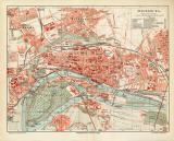 Magdeburg historischer Stadtplan Karte Lithographie ca. 1908