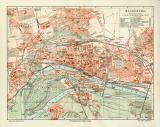 Magdeburg historischer Stadtplan Karte Lithographie ca. 1909