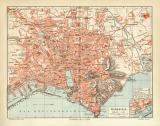 Marseille historischer Stadtplan Karte Lithographie ca. 1907