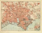 Marseille historischer Stadtplan Karte Lithographie ca. 1908