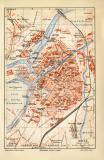 Metz historischer Stadtplan Karte Lithographie ca. 1907