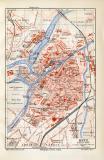 Metz historischer Stadtplan Karte Lithographie ca. 1908