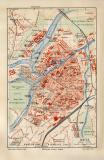 Metz historischer Stadtplan Karte Lithographie ca. 1909