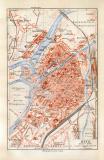 Metz historischer Stadtplan Karte Lithographie ca. 1914