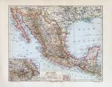 Mexiko historische Landkarte Lithographie ca. 1908