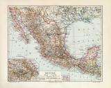 Mexiko historische Landkarte Lithographie ca. 1909