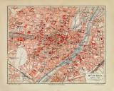 München historischer Stadtplan Karte Lithographie ca. 1908