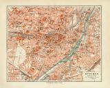 München historischer Stadtplan Karte Lithographie ca. 1909