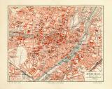 München historischer Stadtplan Karte Lithographie ca. 1914