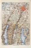 München Umgebung historischer Stadtplan Karte...