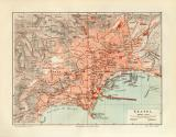 Neapel + Umgebung historischer Stadtplan Karte...