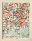 New York historischer Stadtplan Karte Lithographie ca. 1907