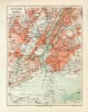 New York historischer Stadtplan Karte Lithographie ca. 1909