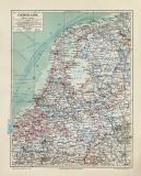 Niederlande historische Landkarte Lithographie ca. 1908