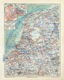 Niederlande historische Landkarte Lithographie ca. 1909