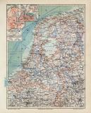 Niederlande historische Landkarte Lithographie ca. 1914