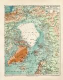 Nord Polarländer historische Landkarte Lithographie...