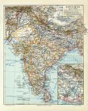 Ostindien historische Landkarte Lithographie ca. 1909
