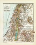 Palästina historische Landkarte Lithographie ca. 1909