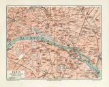 Paris historischer Stadtplan Karte Lithographie ca. 1909