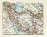 Persien historische Landkarte Lithographie ca. 1909