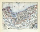Pommern historische Landkarte Lithographie ca. 1908