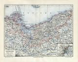 Pommern historische Landkarte Lithographie ca. 1909
