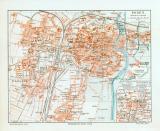 Posen historischer Stadtplan Karte Lithographie ca. 1912