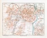 Posen historischer Stadtplan Karte Lithographie ca. 1909