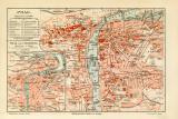 Prag historischer Stadtplan Karte Lithographie ca. 1909