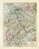 Rheinland und Luxemburg historische Landkarte...