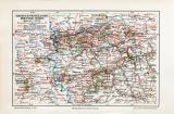 Rheinland Westfalen Industriegebiet historische Landkarte...