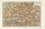 Salzburg historische Landkarte Lithographie ca. 1912