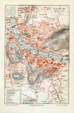 Salzburg historischer Stadtplan Karte Lithographie ca. 1907