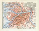 St. Petersburg historischer Stadtplan Karte Lithographie...