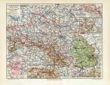 Schlesien historische Landkarte Lithographie ca. 1907