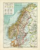 Schweden & Norwegen historische Landkarte...