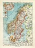 Skandinavien historische Landkarte Lithographie ca. 1914