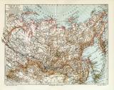Sibirien historische Landkarte Lithographie ca. 1912