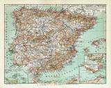 Spanien & Portugal historische Landkarte Lithographie...