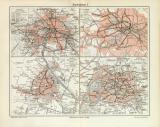 Stadtbahnen I. historische Landkarte Lithographie ca. 1912