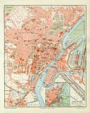 Stettin historischer Stadtplan Karte Lithographie ca. 1909