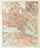 Farbige Lithographie eines Stadtplans von Stockholm aus...