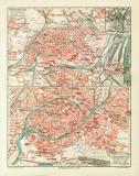 Strassburg historischer Stadtplan Karte Lithographie ca....