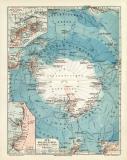 Süd Polarländer historische Landkarte...