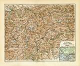 Tirol historische Landkarte Lithographie ca. 1909