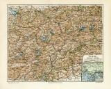 Tirol historische Landkarte Lithographie ca. 1912