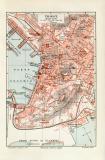 Triest historischer Stadtplan Karte Lithographie ca. 1912